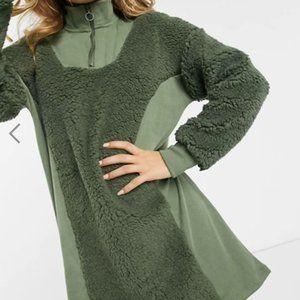 NWTASOS Olive Ribbed Zip Neck Teddy Sweat Dress, 8